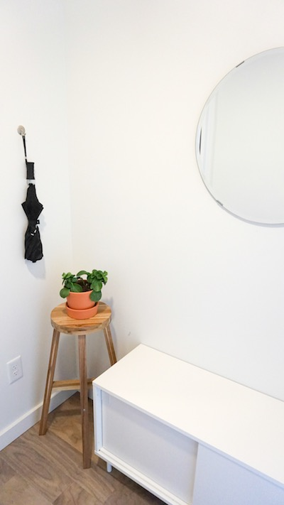 A mirror hangs in the entryway of a micro-apartment