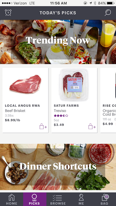 a screenshot of the food-delivery app, FoodKick