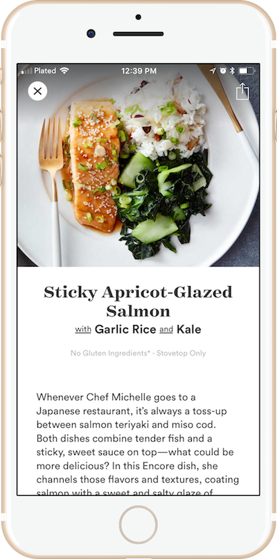 a typical offering on the Plated app is a salmon-based dish
