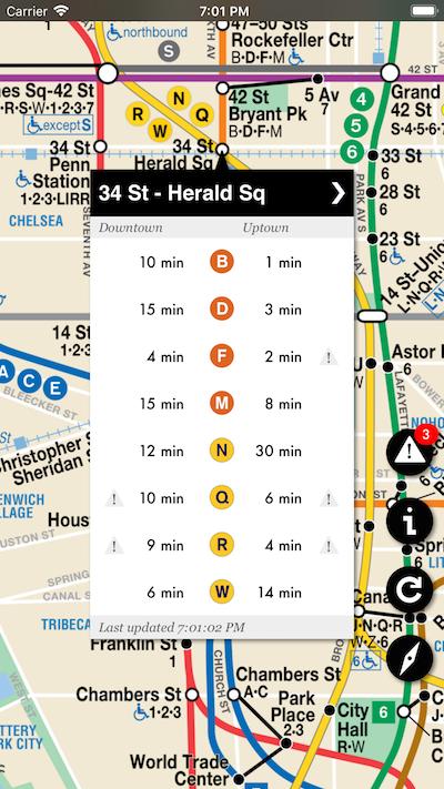 different metro lines on display via the underway app