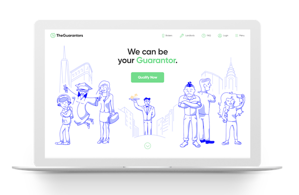 homepage for the website TheGuarantors