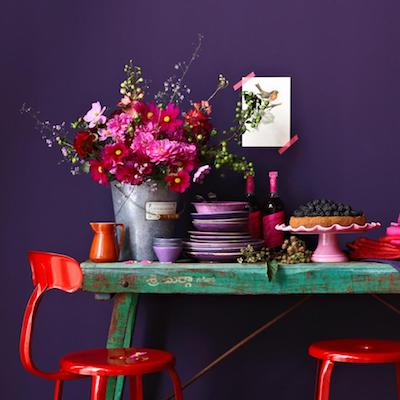 bright color kitchen table and chairs