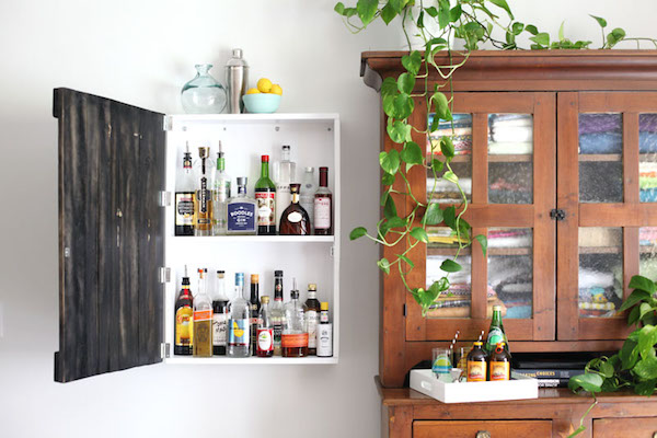 DIY wall mounted liquor cabinet