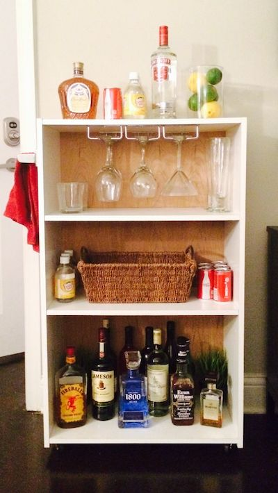 bookcase liquor bar storage