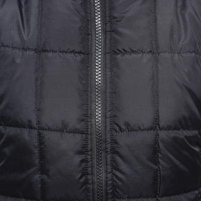 black plastic zipper on down winter jacket