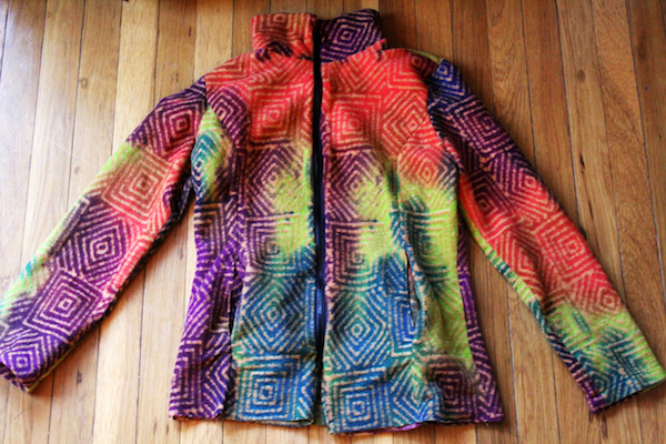 multi colored geometric pattern fleece jacket