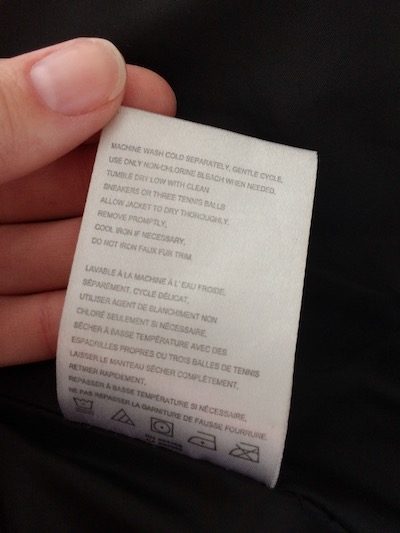 laundry care tag in coat