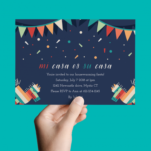a handheld invite for a housewarming party
