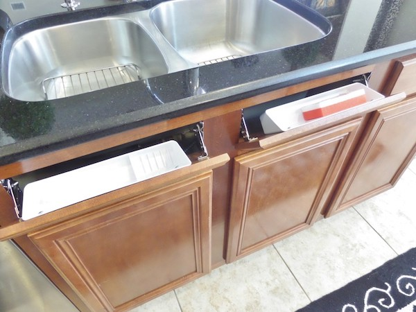 tilt out sink drawer storage