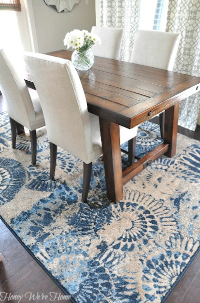 blue patterned dining room rug