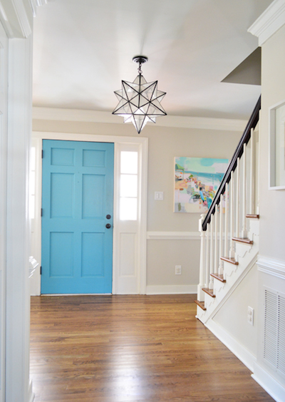 bright blue interior of front door