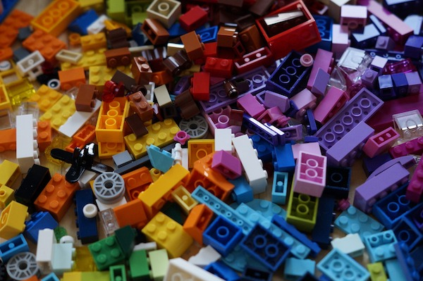 messy disorganized colorful lego
