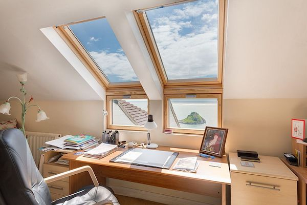 home office with skylight for natural light