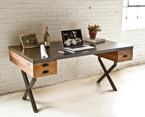 reclaimed wood office desk