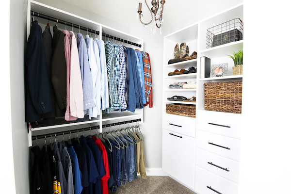organized men's master closet