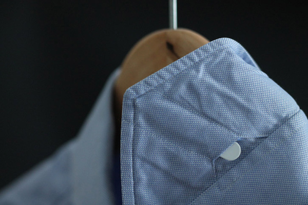 collar stays in a blue dress shirt