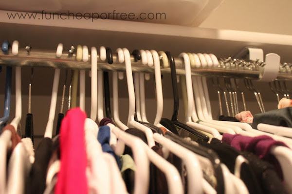 flipped clothing hangers for organization
