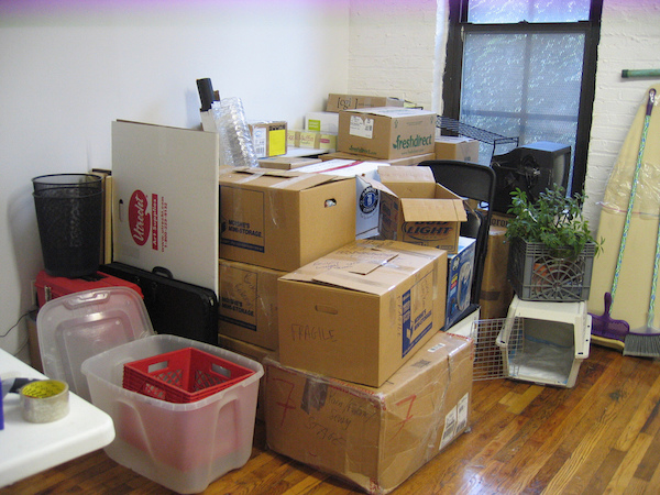 boxes stacked and packed for moving