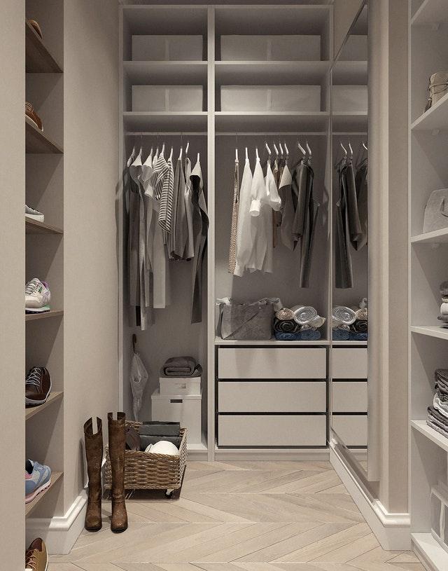 a white walk-in closet