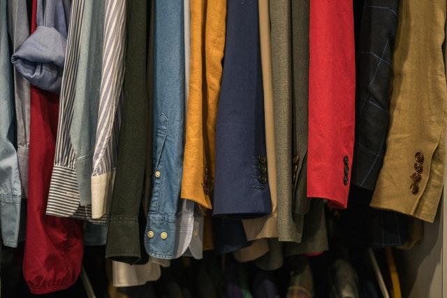 clothes hung in a closet