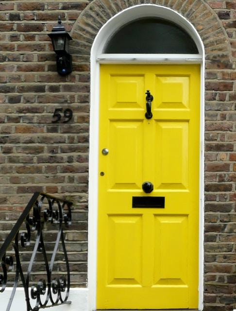 a bright yellow door