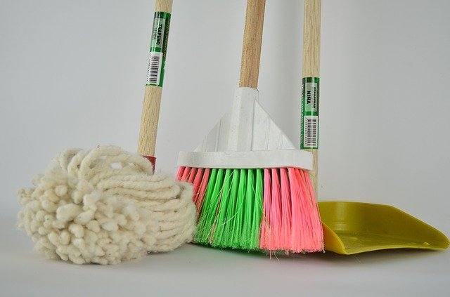 three brooms in a line