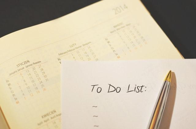 A to-do list against a diary