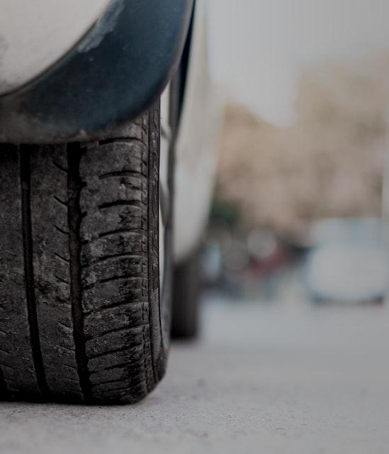 Winter tires on concrete
