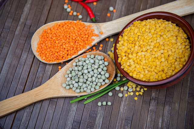 three different kinds of lentils