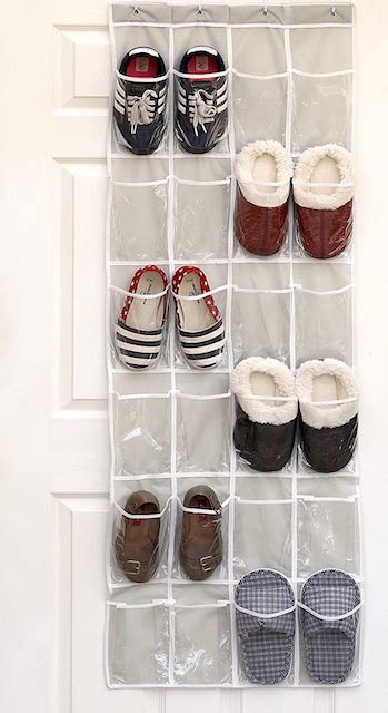 An over the door shoe organizer, with shoes neatly organized in it