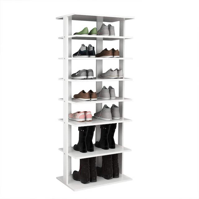 Stacks of shoes organized.