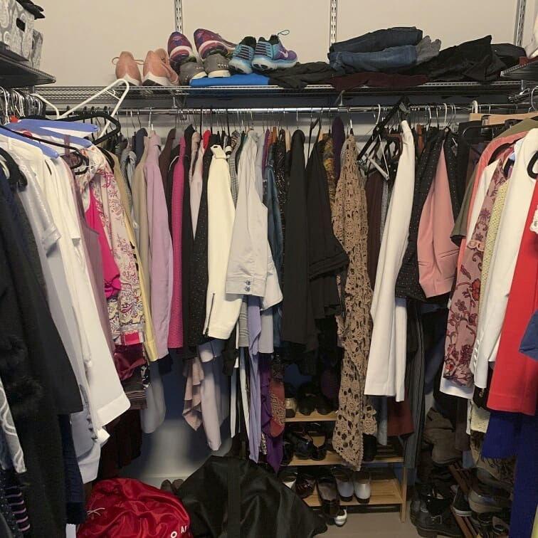 Clothes in a closet in a mess