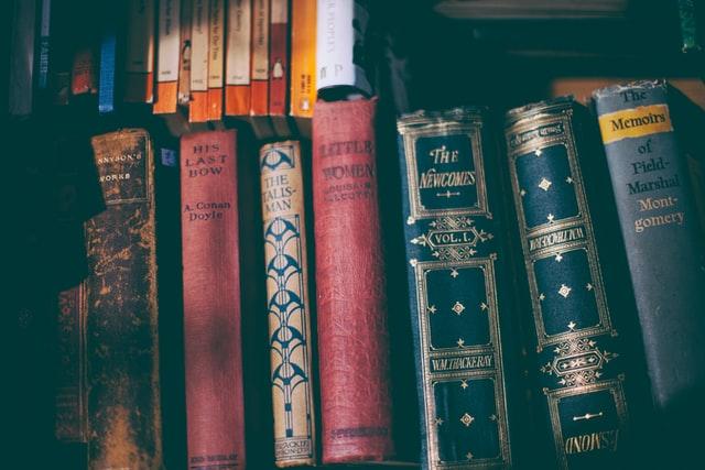 A series of books on a shelf