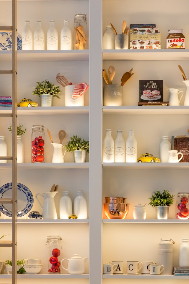 A well-lit up, beautiful pantry