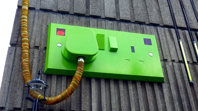 A green switchboard