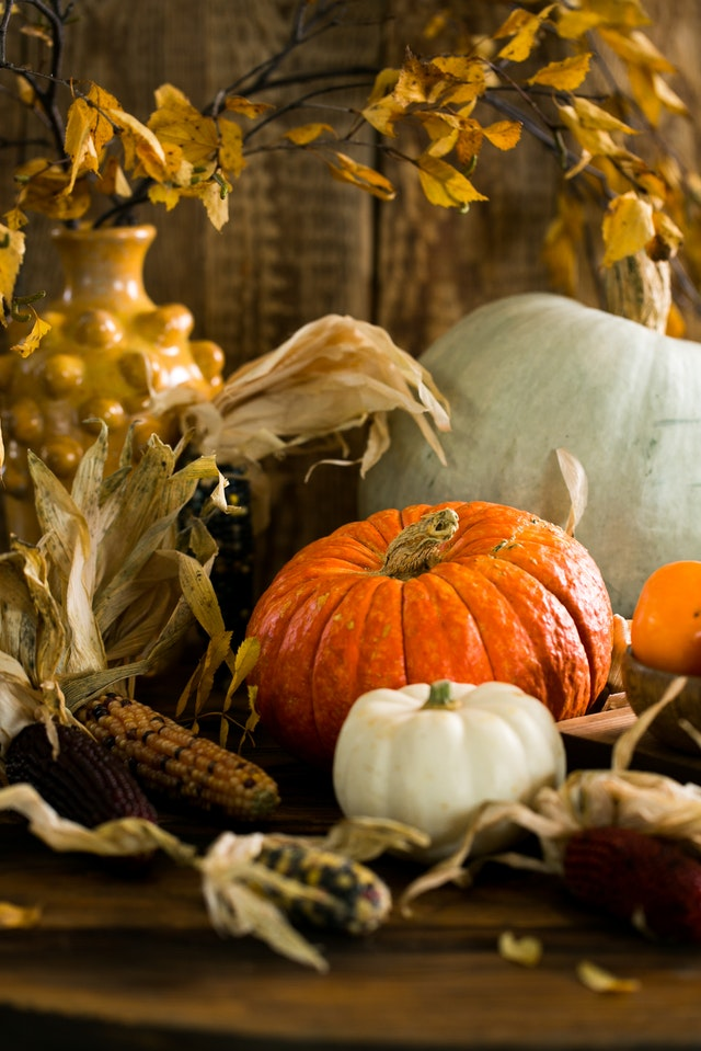 A bright orange pumpkin surrounded by dry leaves and colorful corn.