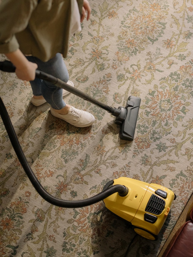 An overhead view of a vacuum on a carpet