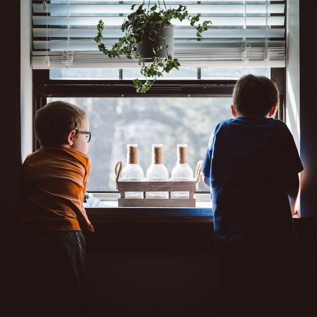 Two boys looking over a window.
