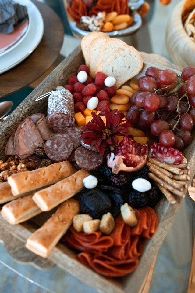 A gorgeous charcuterie board on display