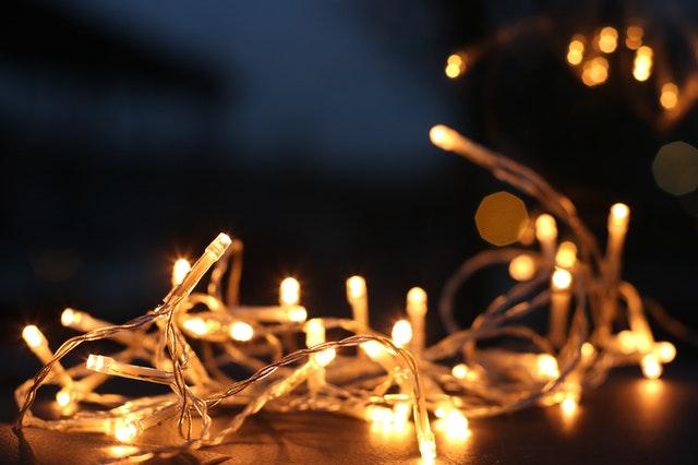 Fairy lights against a dark background