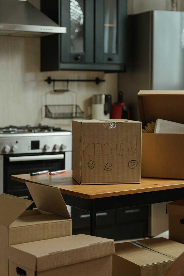 A box with kitchen written on it.