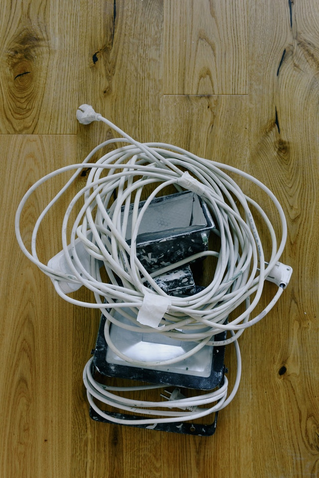 A bunch of entangled cords