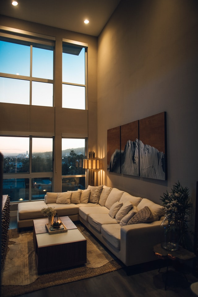 Recessed lighting in a high-ceiling living space